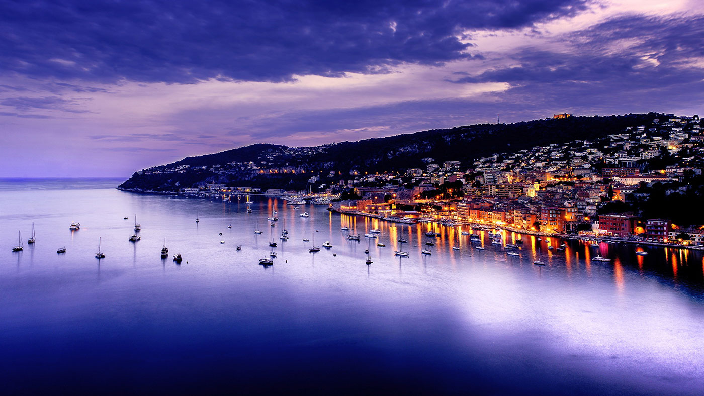 Villefranche Harbour by Night. 10-day Women's Tour May and September with All Things French
