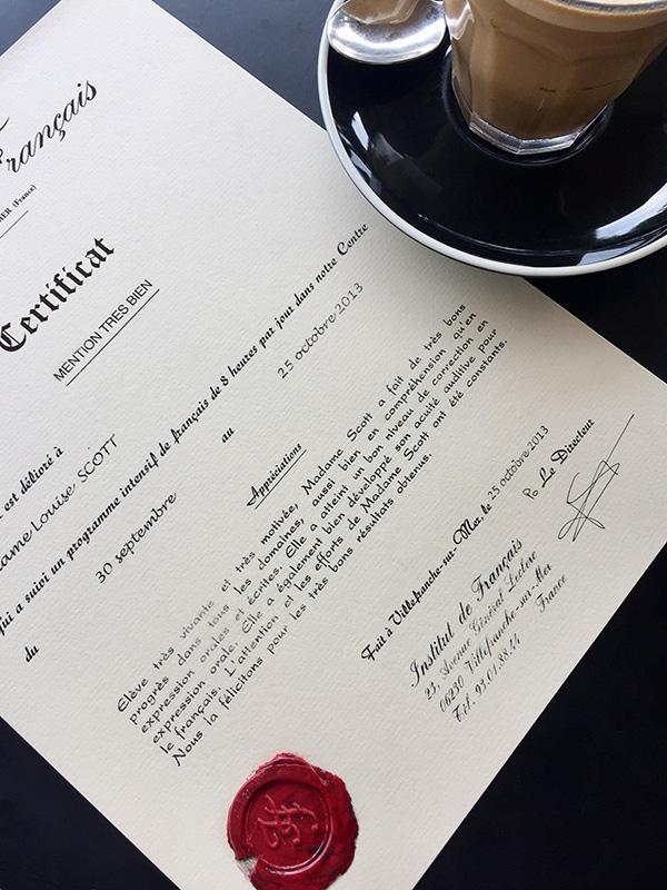 Certificat de Mention Tres Bien, Institut de Francais, Villefranche-sur-Mer